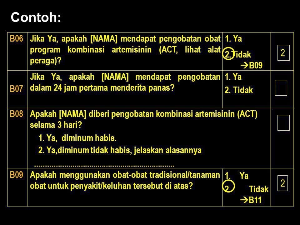 Contoh: B06. Jika Ya, apakah [NAMA] mendapat pengobatan obat program kombinasi artemisinin (ACT, lihat alat peraga)